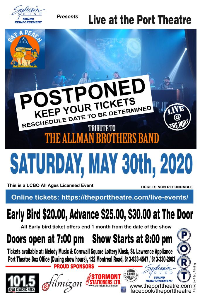 Allman Brothers -2020 poster POSTPONED