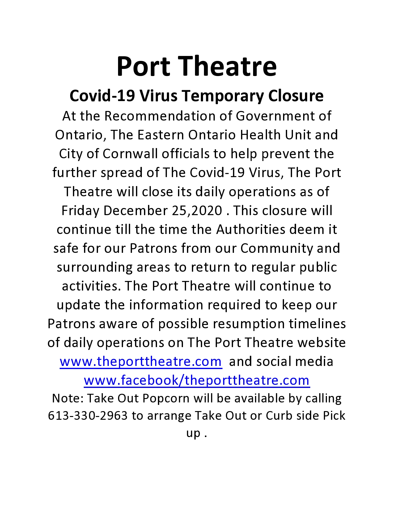Port Theatre Covid-19 Temporary Closure Christmas-page0001